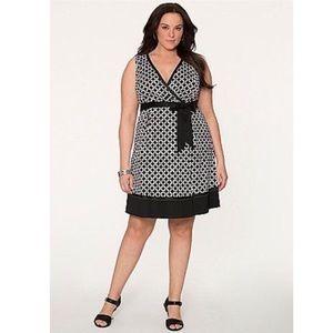 Lane Bryant Geometric Belted Sleeveless Dress